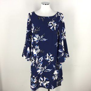 Eliza J 14 16 Navy Blue Pink Floral Dress Shift